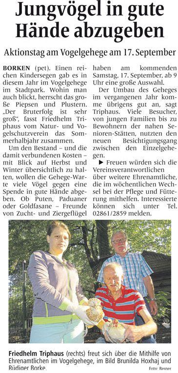 Zeitungsartikel aus der Borkener Zeitung vom 14. September 2016