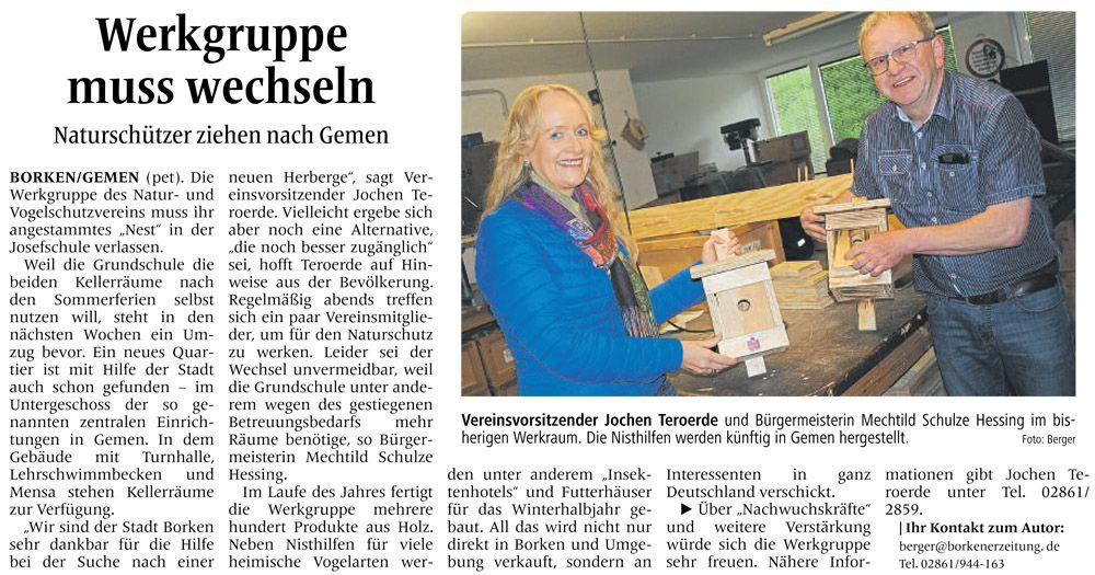 Zeitungsartikel aus der Borkener Zeitung vom 28. Mai 2016